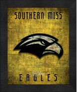 """Southern Miss Golden Eagles """"Retro College Logo Map"""" 13x16 Framed Print  - $39.95"""
