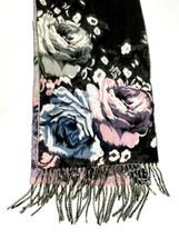 """Cashmink Scarf by V Fraas Germany Floral Design Super Soft 63"""" L Fringe ... - $19.79"""