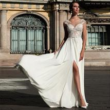 Charming Chiffon Scoop Neckline A-line Wedding Dress With Lace Appliques Front S image 3
