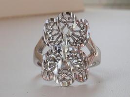14k White Gold Overlay Filigree Design Ring Size 8.75 - $13.49