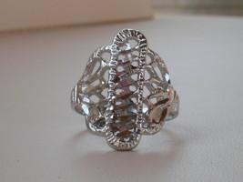 14k White Gold Overlay Filigree Design Ring  size 7 - $13.49