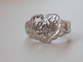 14k White Gold Overlay Filigree Heart Love  Design Ring Size 6 - $13.49