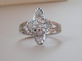 14k White Gold Overlay filigree design ring size 8 and 10.5 - $13.49