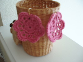 Pink color crocheted  earrings gold earwire - $5.00