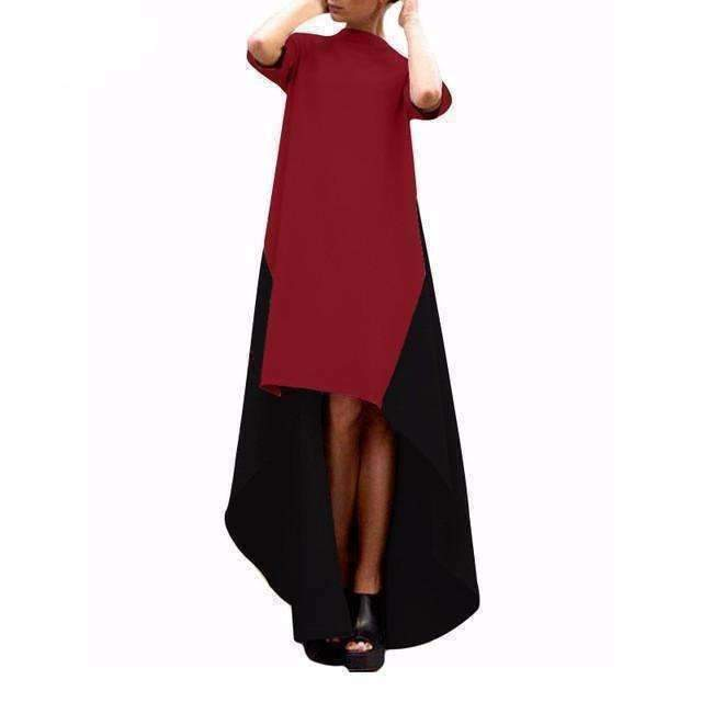 Black and Beige Assymetrical Women Maxi Dress