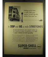 1938 Shell Super-Shell Gasoline Ad - Getting away from a traffic light - $14.99
