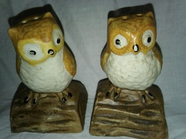 VINTAGE OWLS SITTING ON WOOD SALT AND PEPPER SHAKERS - $9.35