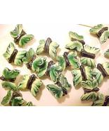 Butterfly 6 Green Leaf Look Porcelain Beads - $2.95