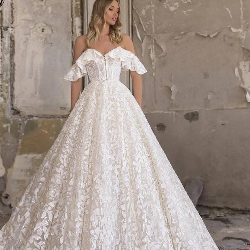 Augel sweetheart a line lace wedding dresses applique off the shoulder lace up bride dress sweep