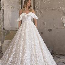 Sweetheart A Line Applique Off The Shoulder Lace Up Sweep Train Bridal Gown