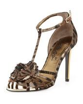 $1185 Lanvin Paris Leopard Print T-STRAP Flower Jacquard Sandal Gold Heels Shoes - $699.97