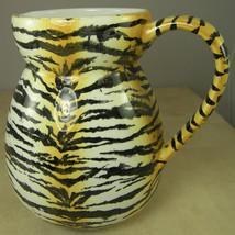"Tiger Stripe Pitcher from CIC Yellow Gold Black Wild Animal Print Large 7.5 x 6"" - $21.76"