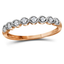 10kt Rose Gold Womens Round Diamond Stackable Band Ring 1/10 Cttw - £90.56 GBP