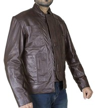 Mens Han Solo Star Wars Force Awakens Harrison Ford Brown Leather Jacket image 2