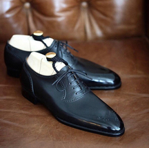 Handmade Men's Black Toe Brogues Lace Up Dress/Formal Oxford Leather Shoes image 1