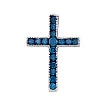 10k White Gold Womens Round Blue Color Enhanced Diamond Small Cross Pendant 1/6 - $80.00