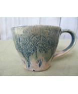 Hand Glazed Artist Made Green & Cream Wide Body Pottery Coffee Mug Signe... - $16.59