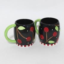 Mary Engelbreit Sakura At Home Black Cherries Coffee Tea 14 oz Mugs Set ... - $32.33