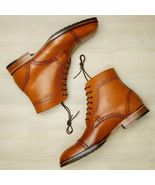 New Handmade tan Leather Wingtip Brogue Dress Formal Shoes Men - $189.97