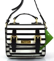 AUTHENTIC NWT KATE SPADE LEATHER MINI SCOUT BLACK OFF WHITE STRIPE MESSE... - $65.00
