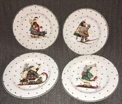 DEBBIE MUMM Sledding Characters HOLIDAY CHRISTMAS SALAD DESSERT PLATES 4... - $19.79