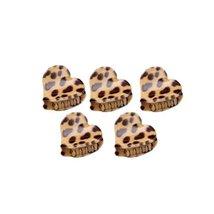 [Set Of 5] Fashion Cute Leopard Mini Fringe Clip Hair Styling Claws, KHAKI HEART