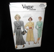 Vogue 9733 Misses 10 dress mock wrap bodice short long sleeves semi fitted  - $7.91