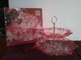 Christmas Story by Mikasa Glass Tidbit Tray or Server 2 Tier Pink Clear ... - $65.44