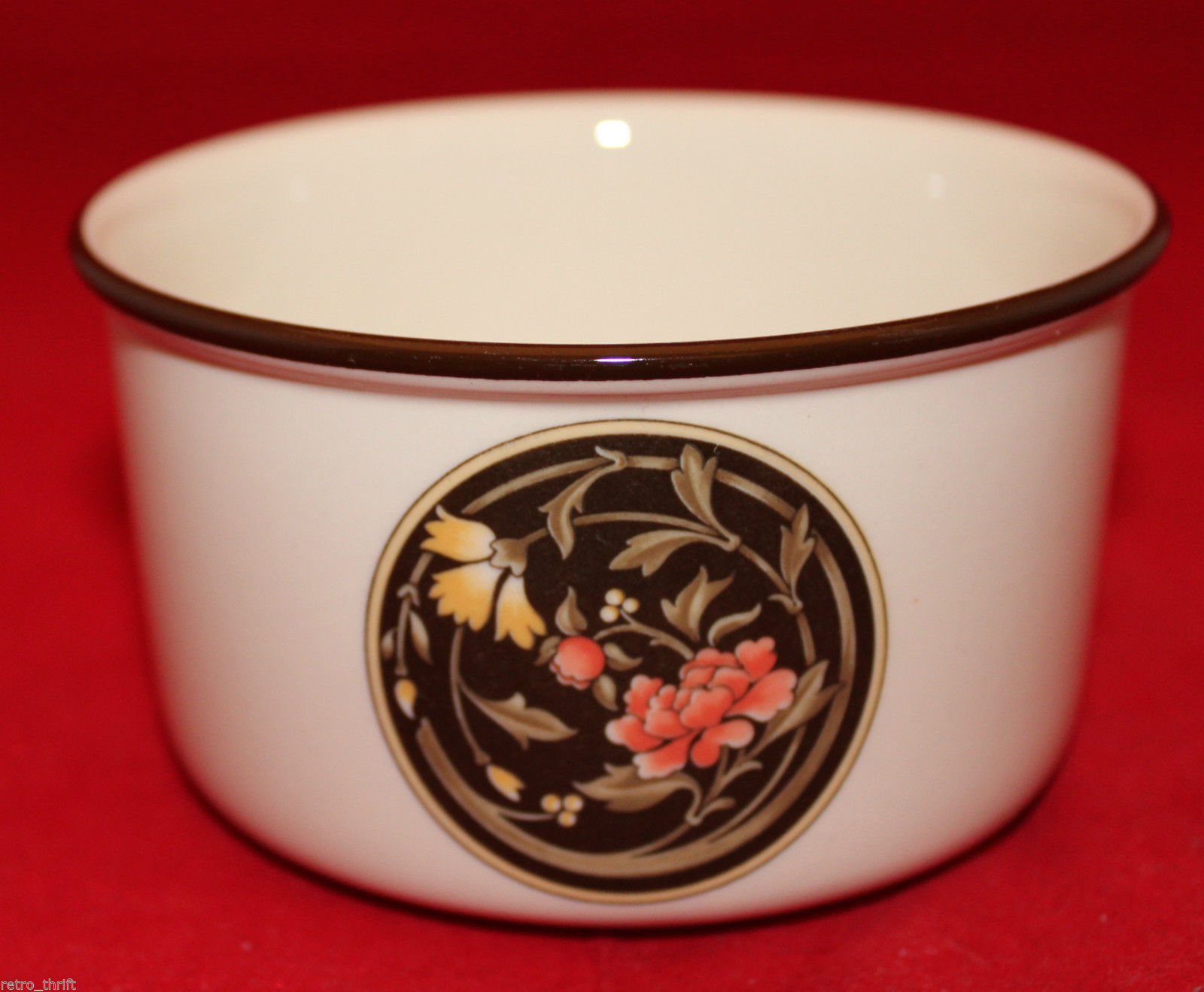Vintage Wedgwood Mikado Open Sugar Bowl Brown Yellow Pink Flowers England Oven image 3