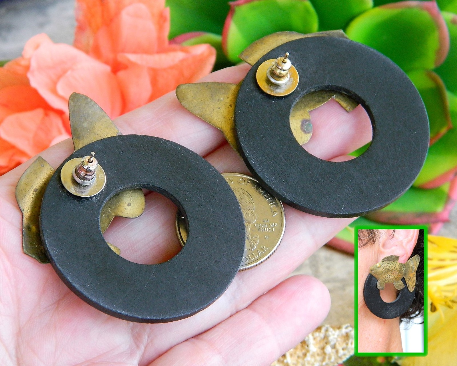 Vintage Fish Earrings Etched Brass Wood Circle Posts Bohemian Figural