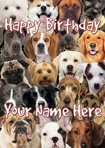 Dog Breeds Occasion Personalised Greeting Card Birthday Fathers Mum Nan PIDDB9 - $4.06