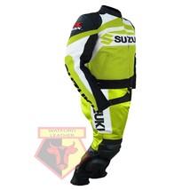 SUZUKI GSX-R MOTORBIKE MOTORCYCLE FLUORESCENT COWHIDE LEATHER ARMOURED 2... - $339.99