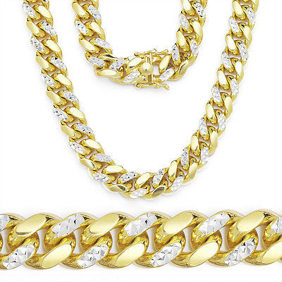 6.8mm 14k Yellow Gold Diamond Cut Sterling Silver Miami Cuban Chain Necklace