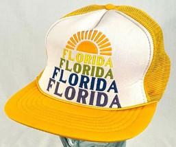 FLORIDA Trucker Hat-Yellow-Mesh-Snapback-Rope Bill-Vtg - $32.71