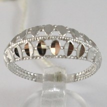 White Gold Ring 750 18k, fascia, Petals Machined, Threaded, Made in Italy image 1