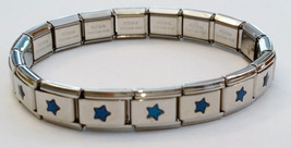 Blue Stars Italian Charm Bracelet Stretchy 18 links for little girls by ... - $6.00