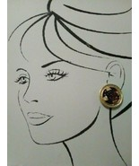 VINTAGE FASHION CLIP EARRINGS TEXTURED FAUX AMBER IN GOLDEN FRAME - $45.00