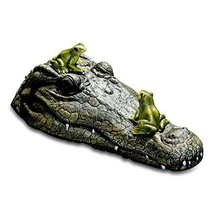WHW Whole House Worlds Floating Crocodile Head with 2 Frogs, Garden Art ... - $38.49