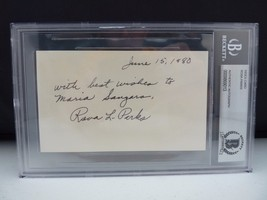 Rosa Parks 1980 Signed Autographed 3x5 Index Card Beckett Certified & Sl... - $499.99