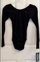 Capezio 1303 Women's Black Teen/Petite Ribbed Detail Long Sleeve Leotard - $15.99