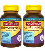 Nature Made Hair, Skin & Nails 2500 mcg Gummies  60 Ct(pack of 2)Total 1... - $29.69
