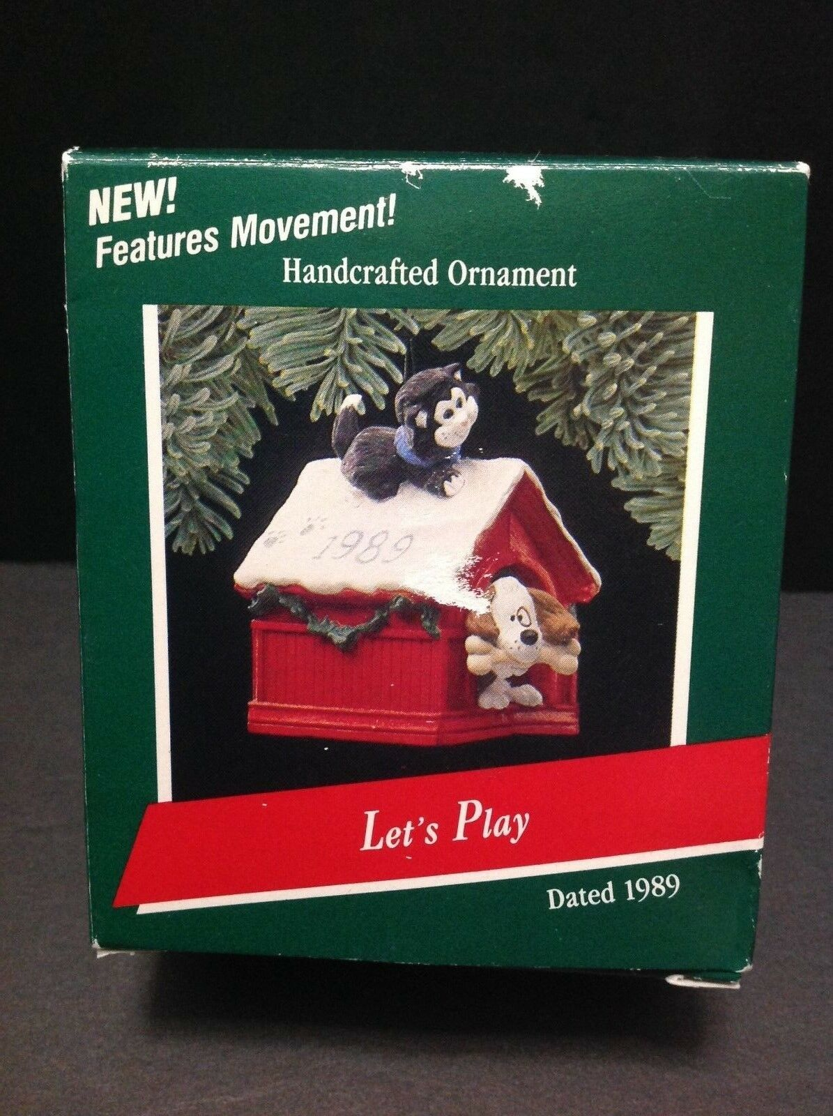 Primary image for Hallmark 1989 Let's Play Ornament Dog & Cat Dogs head moves, cats tail moves