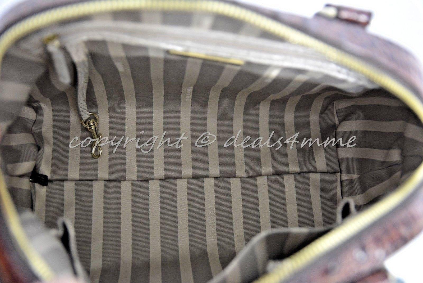 NWT Brahmin Hudson Satchel/Shoulder Bag in Linen Tri-Texture Beige, Pecan & Teal image 6