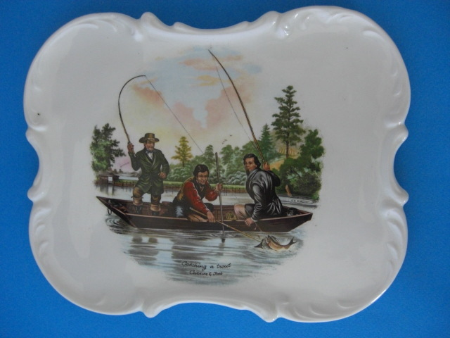 Catching a Trout 1952 Currier & Ives Ceramic Plate