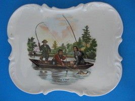 Catching a Trout 1952 Currier & Ives Ceramic Plate - $10.25