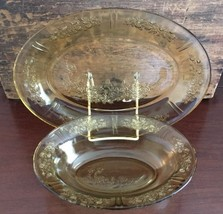 "Lot #8 / Federal Glass Sharon Amber 9"" Oval Vegetable Bowl & 12"" Oval Pl... - $34.99"