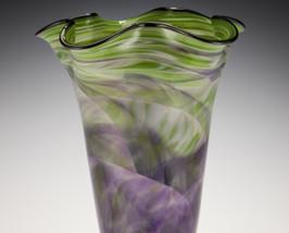 Rosetree Fluted Landscape Art Glass Vase - $475.00
