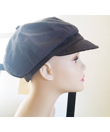 womens news boy hat cap cabbie stripes lady gray reversible fashion acce... - $6.75