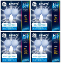 8x GE Lighting 3-Way Reveal HD+ Light Bulb 50/100/150-Watt A21 Incandescent NEW