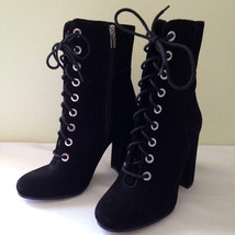 NEW! Vince Camuto Black Suede Leather Boots TEISHA Sexy Lace Up Booties ... - $118.00